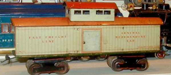 Ives Railway-Freight Wagons Caboose variation with eight wheels