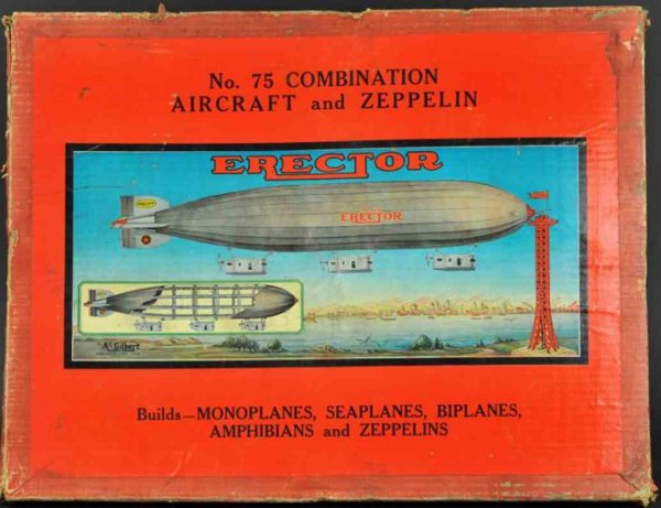 Meccano (Erector) Tin-Kit-Airplanes No 75 combination aircraft and zeppelin builder set includes