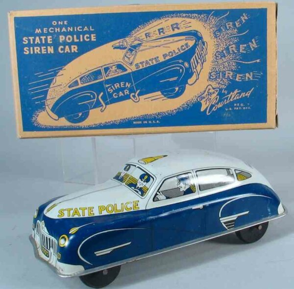 Courtland Tin-Cars Police patrol car. Car is push type car