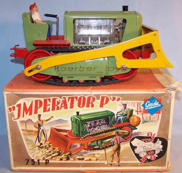 Gescha Tin-Tugs/Rollers Bulldozer imperator with electric drive in red, green and