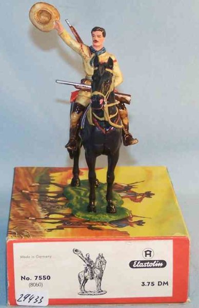 Hausser (Elastolin) Celluloid-Figures Scale 1:25 <br> Old Shatterhand with horse made of plastic,
