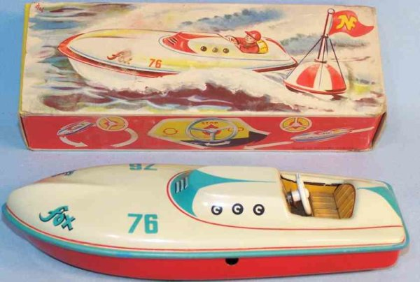 JNF Neuhierl Tin-Ships Racing boat Fox with clockwork, beige and red lithographed