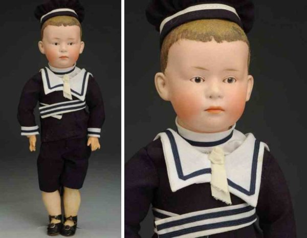 Heubach Gebr. Dolls Bisque socket head character doll, head incised 7602 with He