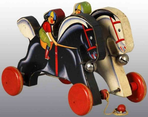 Fisher-Price Wood-Figures Prancing Horses with bells, pull string and ball