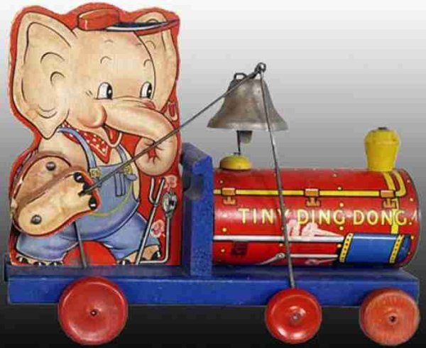 Fisher-Price Wood-Pull-Toys Tiny Ding Dong, made of wood, elephant on locomotive with be