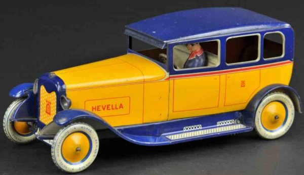 Lehmann Tin-Oldtimer Hevella #778, luyury auto with driver, made of lithographed