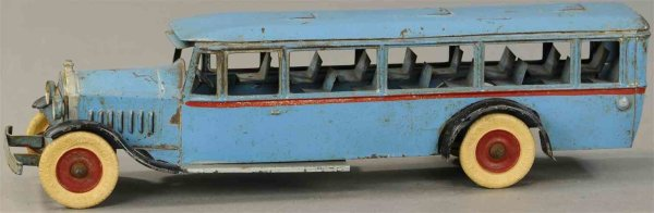 Kingsbury toys Tin-Buses Light blue bus with clockwork. Kingsbury bus styled after bu