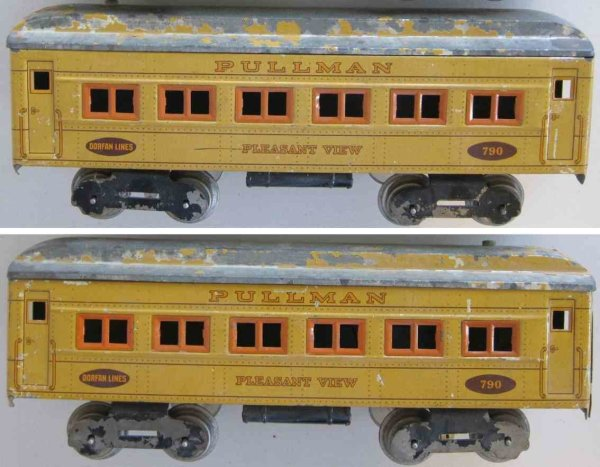 Dorfan Railway-Passenger Cars Passenger car with eight wheels, lithographed, marked Pullm