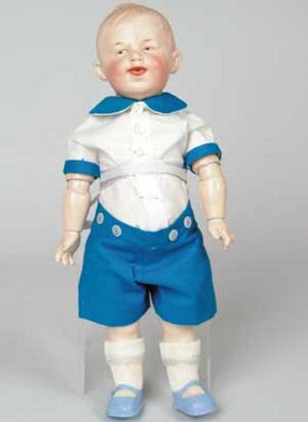 Heubach Gebr. Dolls Unusual toddler boy, a Heubach character with molded hair, p