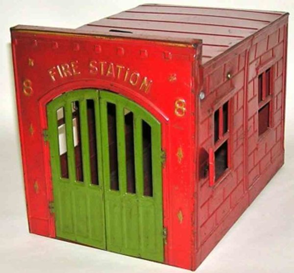 Kingsbury toys Tin-Buildings Fire Station - No. 8. with wind-up opens the doors