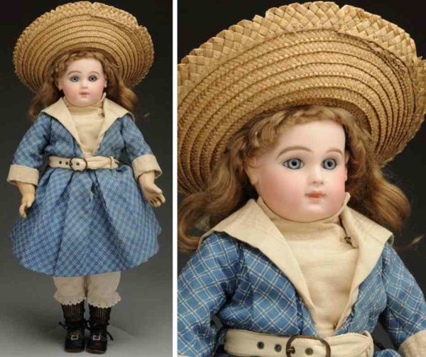 Jumeau Dolls Bisque socket head baby doll, head incised 8 made by Emile J