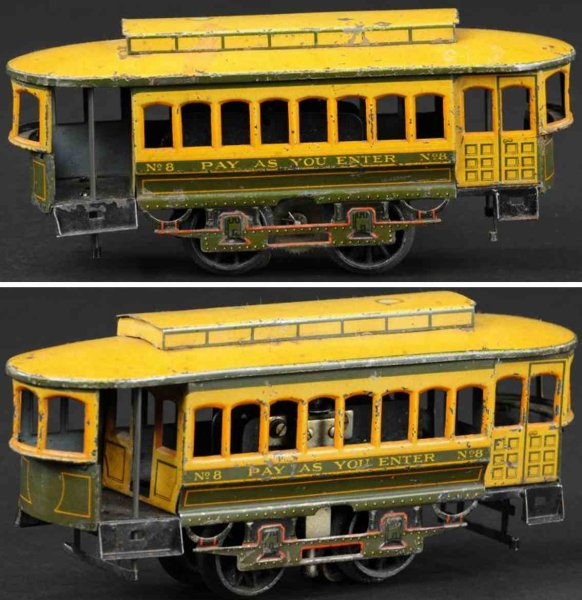 Bing Tin-Trams Street trolley done in lithographed tin, electric motor, ope