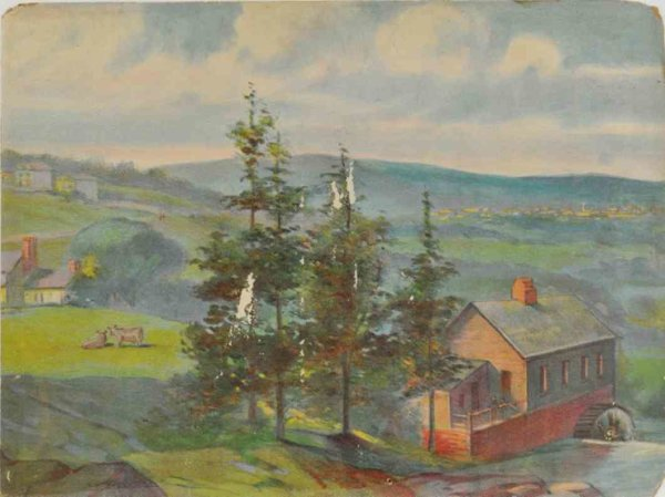 Ives Railway-scenic-backdrops No. 80 scenic backdrop, rare example, lithographed paper ove