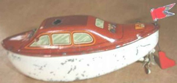 Fleischmann Tin-Ships small pre war sheet boat #800, sport boat with feather clock