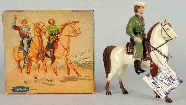 Hartland Celluloid-Figures Dale Evans figure with horse, hat, tag, and saddle but missi