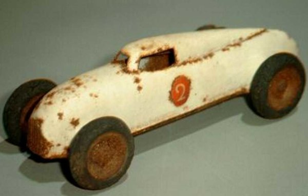Lehmann Tin-Penny Toy Racing car #808/1 in white without clockwork from the GNOM-s