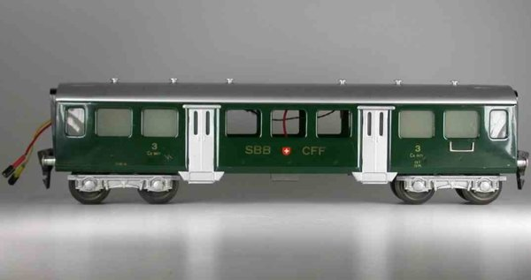 HAG Railway-Passenger Cars Passenger car; 4-axis, 3rd class, green and silvery, letteri