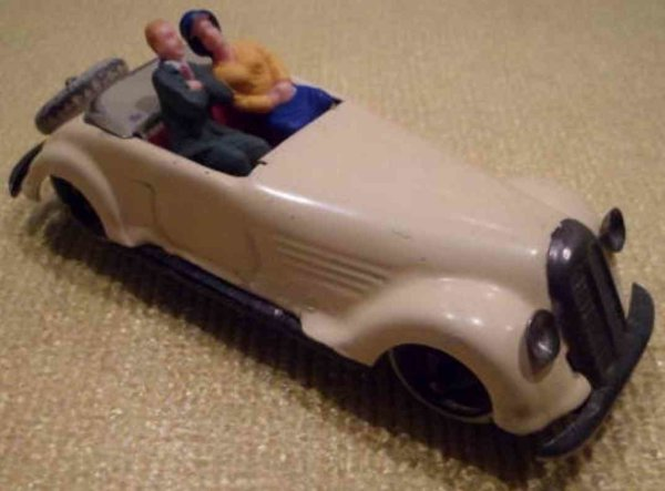 Lehmann Tin-Oldtimer Roadster #811/1 sports car cabriolet with 2 figures
