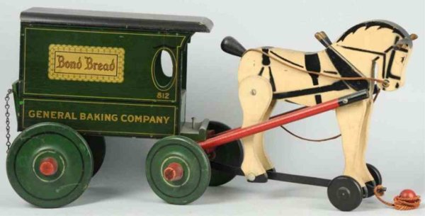 Rich Toys Inc. Wood-Carriages Horse-drawn wagon toy, all wooden wagon pulled by one articu