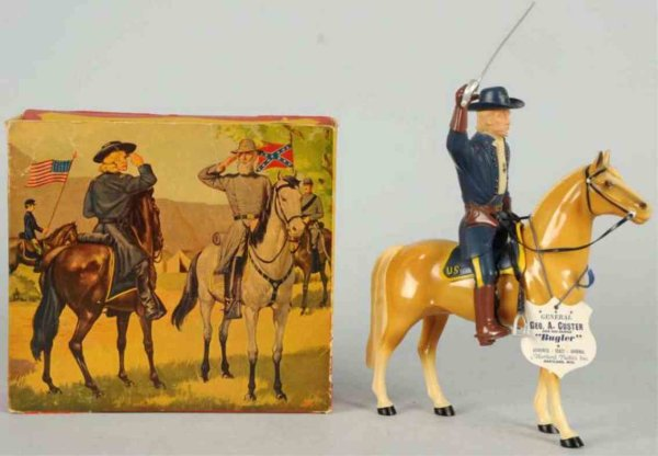 Hartland Celluloid-Figures General Custer figure riding bugler with hat, sword, tag, an
