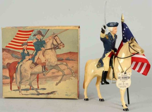 Hartland Celluloid-Figures George Washington figure on Ajax with saddle, hat, sword, ta