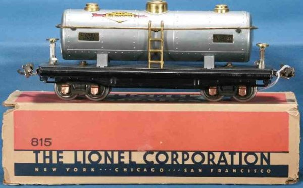 Lionel Railway-Freight Wagons Tank car in aluminium with black frame, copper journal boxes