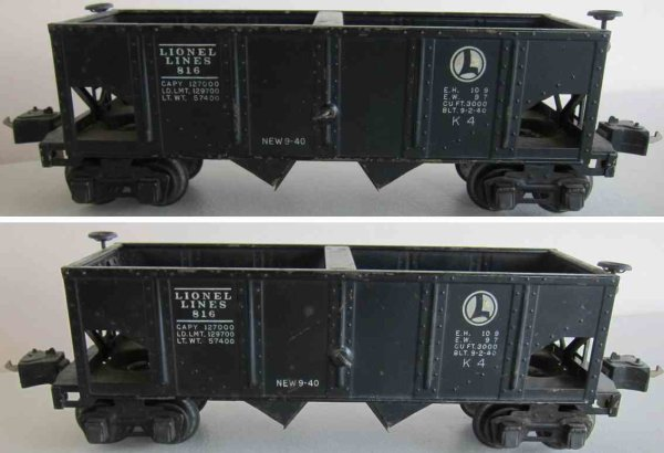 Lionel Railway-Freight Wagons Hopper car #816.7, 4 wheeled, painted in black, without numb