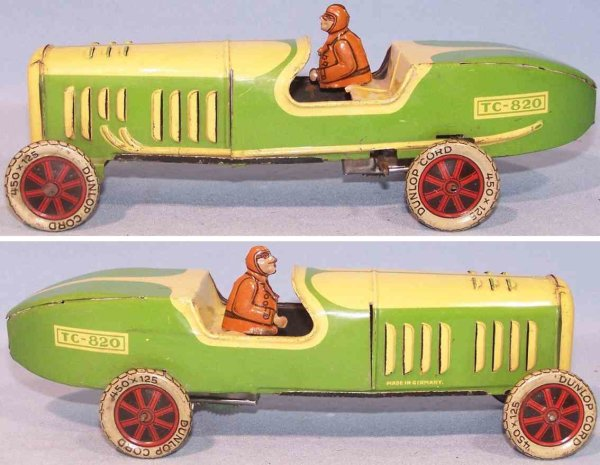 Tippco Tin-Race-Cars Race car with clockwork, lithographed tin in light green and
