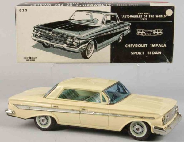 Bandai Tin-Cars Chevrolet impala #823 made of lithographed tin, with frictio