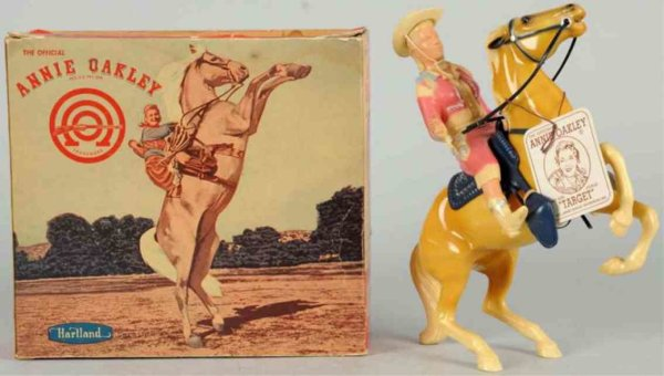 Hartland Celluloid-Figures Annie Oakley figure on Target with hat, original tag marked