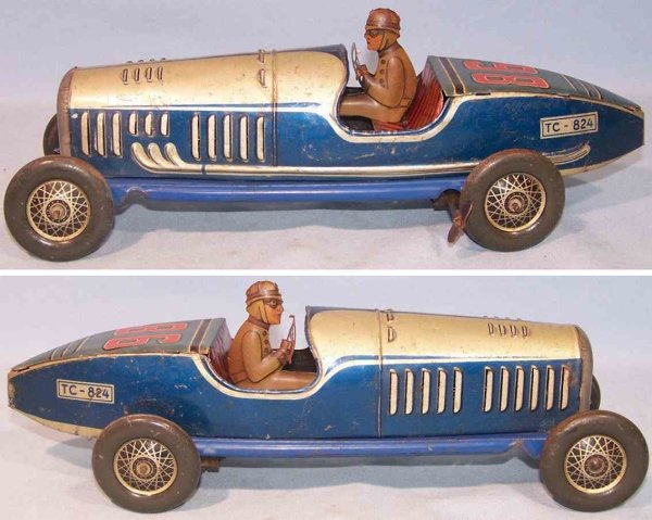 Tippco Tin-Race-Cars Race car with clockwork, tin, lithographed in silver, blue,
