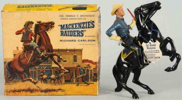 Hartland Celluloid-Figures Ranald Mackenzie figure on horse, Richard Carlson figure com