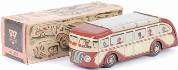 Arnold Tin-Buses Single decker bus with flywheel drive, of tin in cream, brow