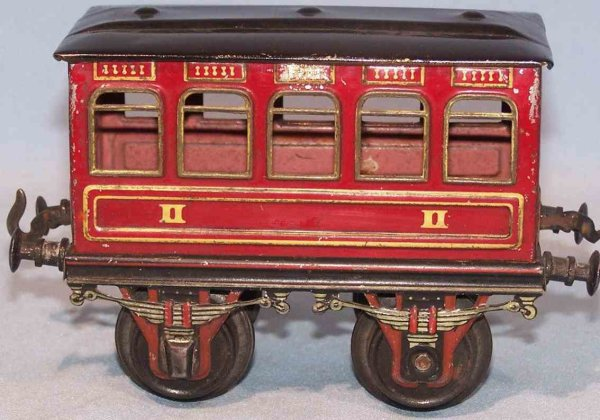 Bing Railway-Passenger Cars Passenger car #8402/1 with four wheels; tin lithographed in