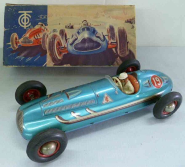 Tippco Tin-Race-Cars Racing car with fricion dirve lithographed with driver figur