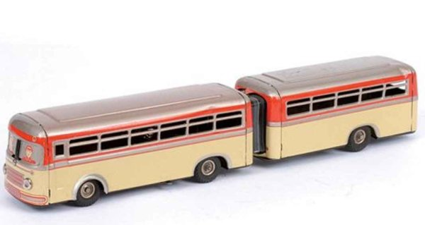 Guenthermann Tin-Buses Bus Bendy Bus with clockwork, cream lower, silver upper, wit