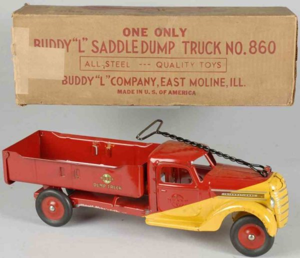 Buddy L Tin-Trucks Saddle dump truck of pressed steel, in red and yellow  color