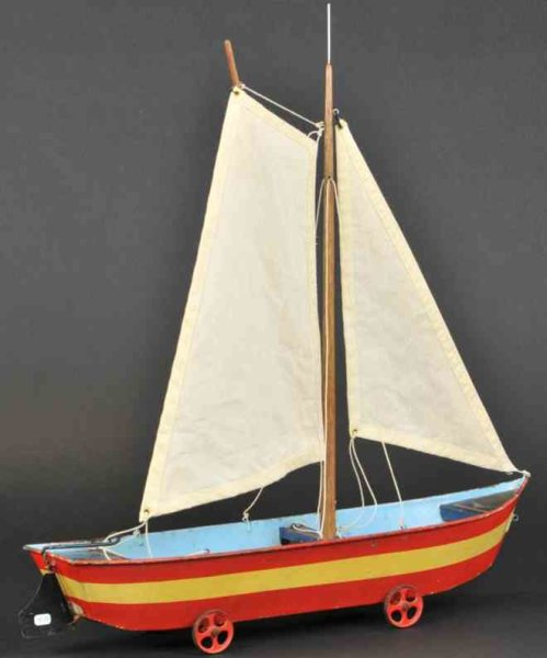 Maerklin Tin-Ships Sailboat sand toy, hand painted tin, done in red and white s