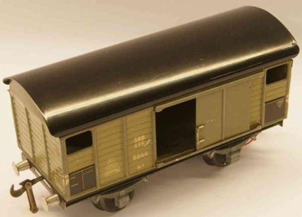 Buco (Bucherer) Railway-Freight Wagons Box car; 2-axis; in olive-green and black, coupling 1