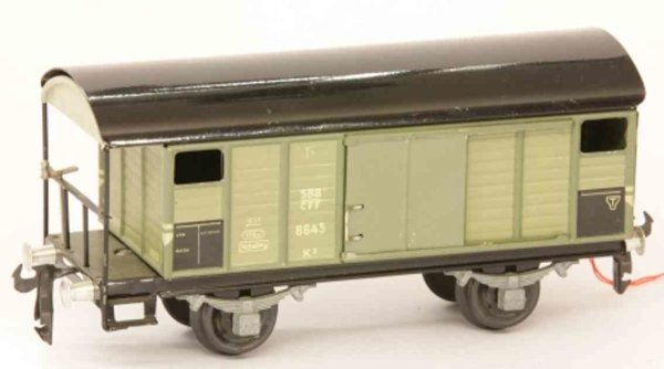 Buco (Bucherer) Railway-Freight Wagons Box car; 2-axis; in gray and black, riveted coupling