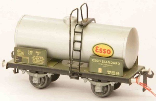 Buco (Bucherer) Railway-Freight Wagons Tank car; 2-axis, in silvery, gray and black, screwed coupli