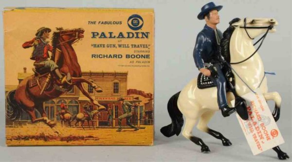 Hartland Celluloid-Figures Paladin figur on horse with hat, pistol, tag, and saddle. In