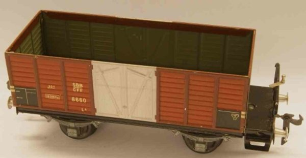 Buco (Bucherer) Railway-Freight Wagons Hopper; 2-axis; in brown and gray, riveted coupling 2
