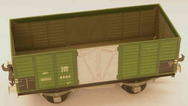 Buco (Bucherer) Railway-Freight Wagons Hopper; 2-axis; in green and gray, screwed coupling 2