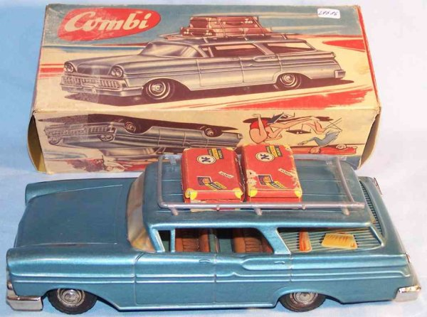 JNF Neuhierl Tin-Cars Station wagon made of tin and cardboard with flywheel drive,