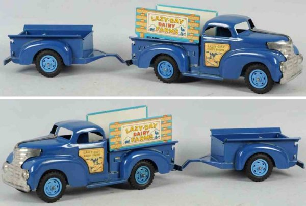 Marx Tin-Trucks Pressed steel Lazy Day Dairy farm pick-up truck with two-whe