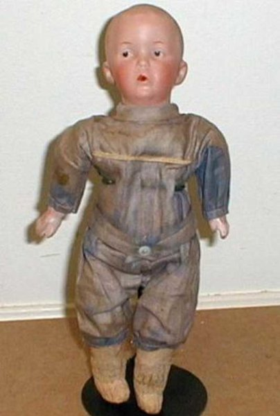 Heubach Gebr. Dolls Whistling Jim blue painted eyes, factory original clothing a