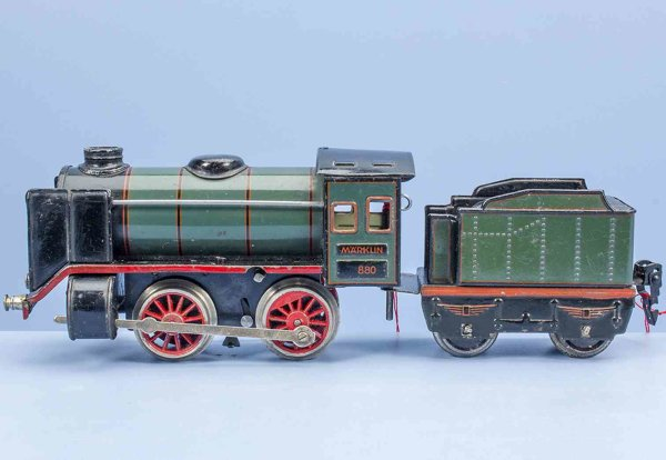 Maerklin Railway-Locomotives Clockwork steam engine #880 made of tin and cast, lithograph