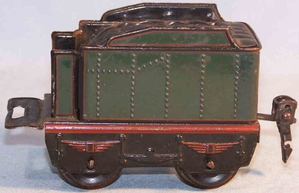 Maerklin Railway-Tender Tender; 2-axis; made of tin, lithographed in green, red and