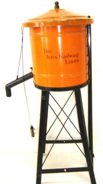 Ives Tin-Toys Water tower No. 89 with spout, weight and ladder, the orange